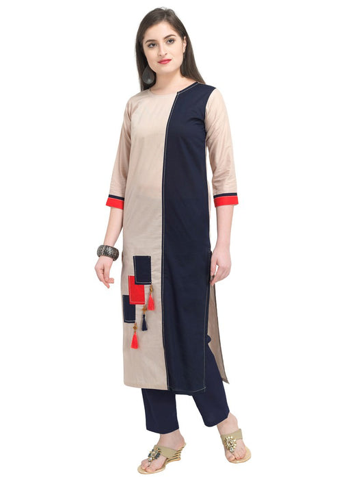 Beige, Navy Blue Color Dyed Cambric Cotton Kurti only in Bigswipe