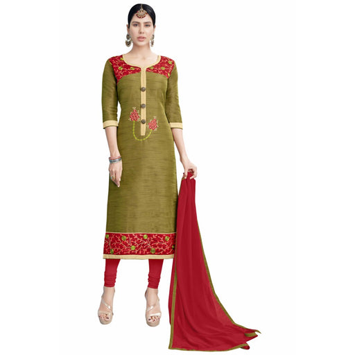 Cotton Silk Fabric Mehandi Color Dress Material only in Bigswipe