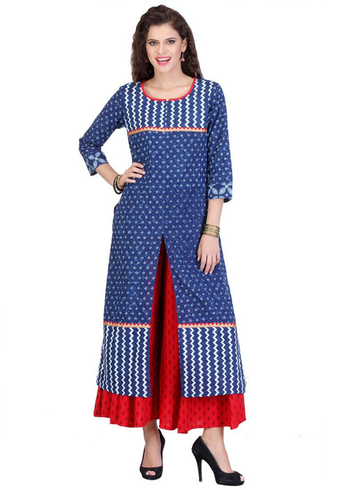 Blue Color Zig Zag Print Cambric Cotton Kurti only in Bigswipe