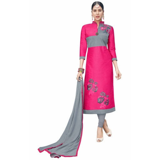 Cotton Silk Fabric Pink Color Dress Material only in Bigswipe