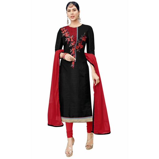 Cotton Silk Fabric Black Color Dress Material only in Bigswipe