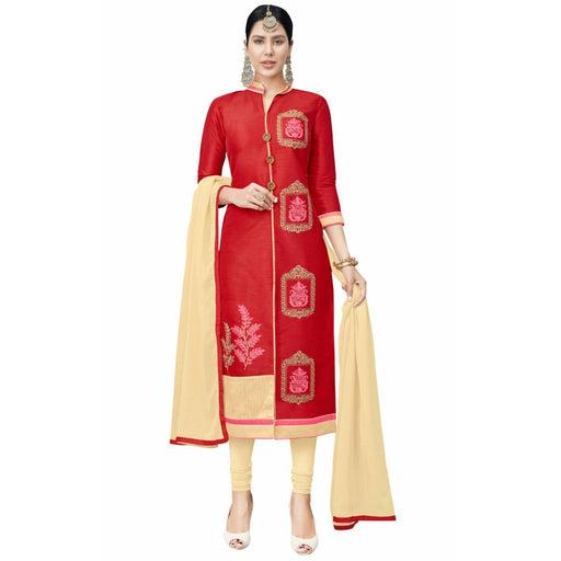 Cotton Silk Fabric Red Color Dress Material only in Bigswipe
