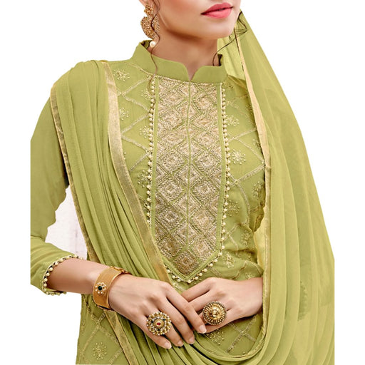Georgette Fabric Mehendi Green Color Dress Material