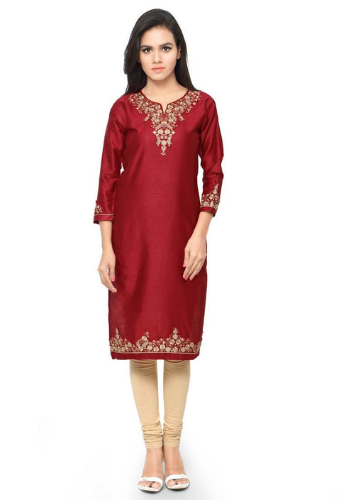 Maroon Color Embroidery Patch Work Glace Cotton Kurti only in Bigswipe