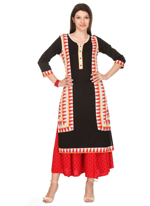 Black Color Printed Rayon Flex Kurti only in Bigswipe