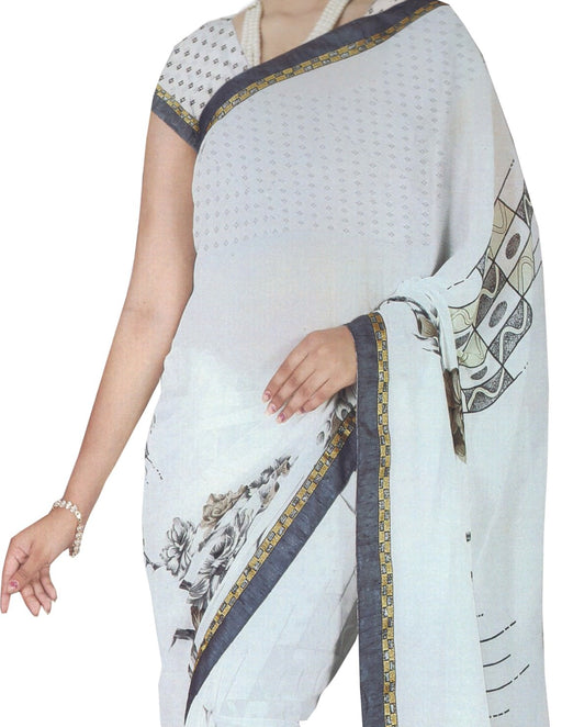 Chiffon Digital Color Printed Saree-White only in Bigswipe
