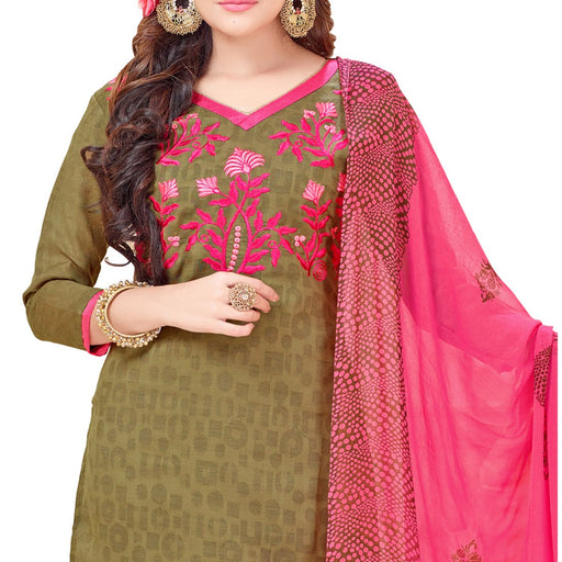 Cotton Jacquard Fabric Mehendi Green Color Dress Material