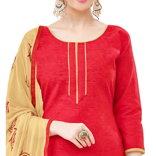 Cotton Jacquard Fabric Red Color Dress Material only in Bigswipe