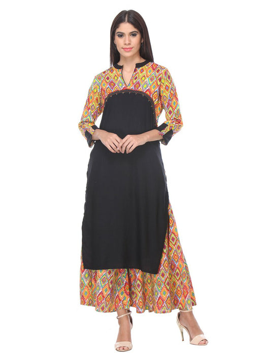 Black Color Printed,Artificial Buttons Rayon Kurti only in Bigswipe
