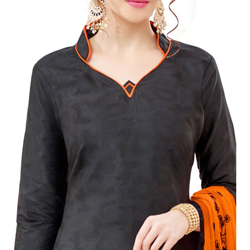 Cotton Jacquard Fabric Charcoal Color Dress Material only in Bigswipe