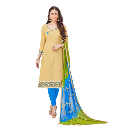 Cotton Jacquard Fabric Cream Color Dress Material only in Bigswipe