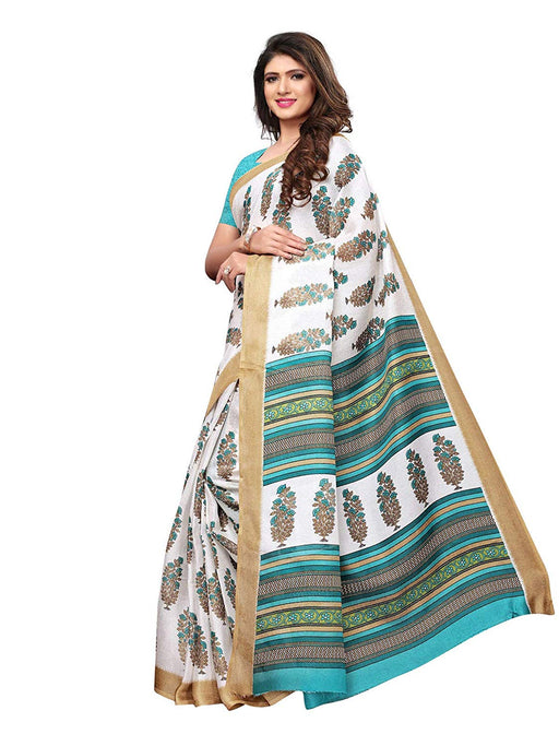White, Turquoise, Multi Color Poly Silk Saree