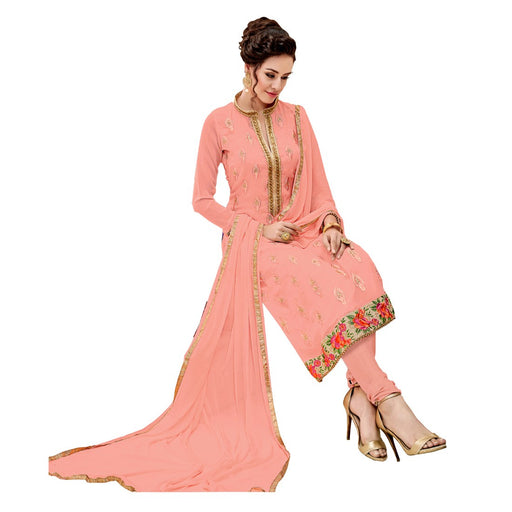 Georgette Fabric Peach Color Dress Material only in Bigswipe