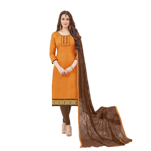 Cotton Jacquard Fabric Mustard Color Dress Material only in Bigswipe