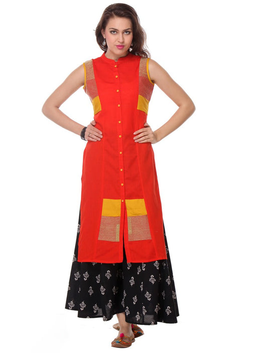 Orange Color Buttons Rayon Flex Kurti only in Bigswipe