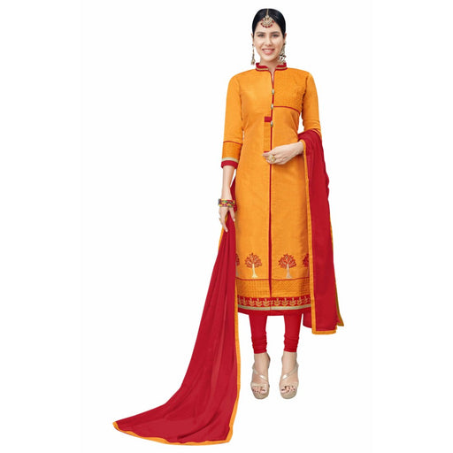Cotton Silk Fabric Orange Color Dress Material only in Bigswipe