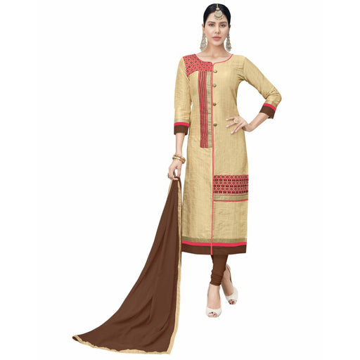 Cotton Silk Fabric Beige Color Dress Material only in Bigswipe