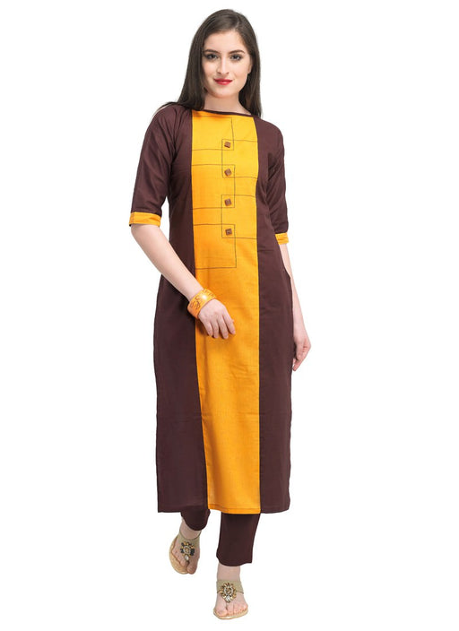 Brown, Yellow Color Dyed Cambric Cotton Kurti only in Bigswipe