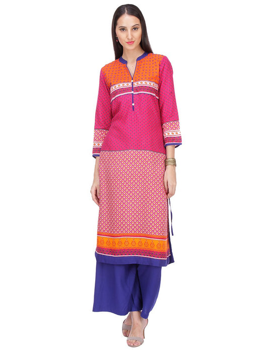 Pink Color Printed,Buttons Rayon Kurti only in Bigswipe
