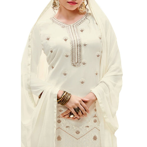 Georgette Fabric Cream Color Dress Material only in Bigswipe