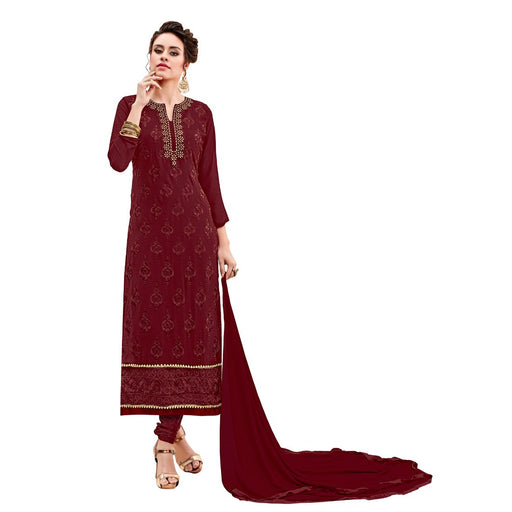 Georgette Fabric Maroon Color Dress Material only in Bigswipe