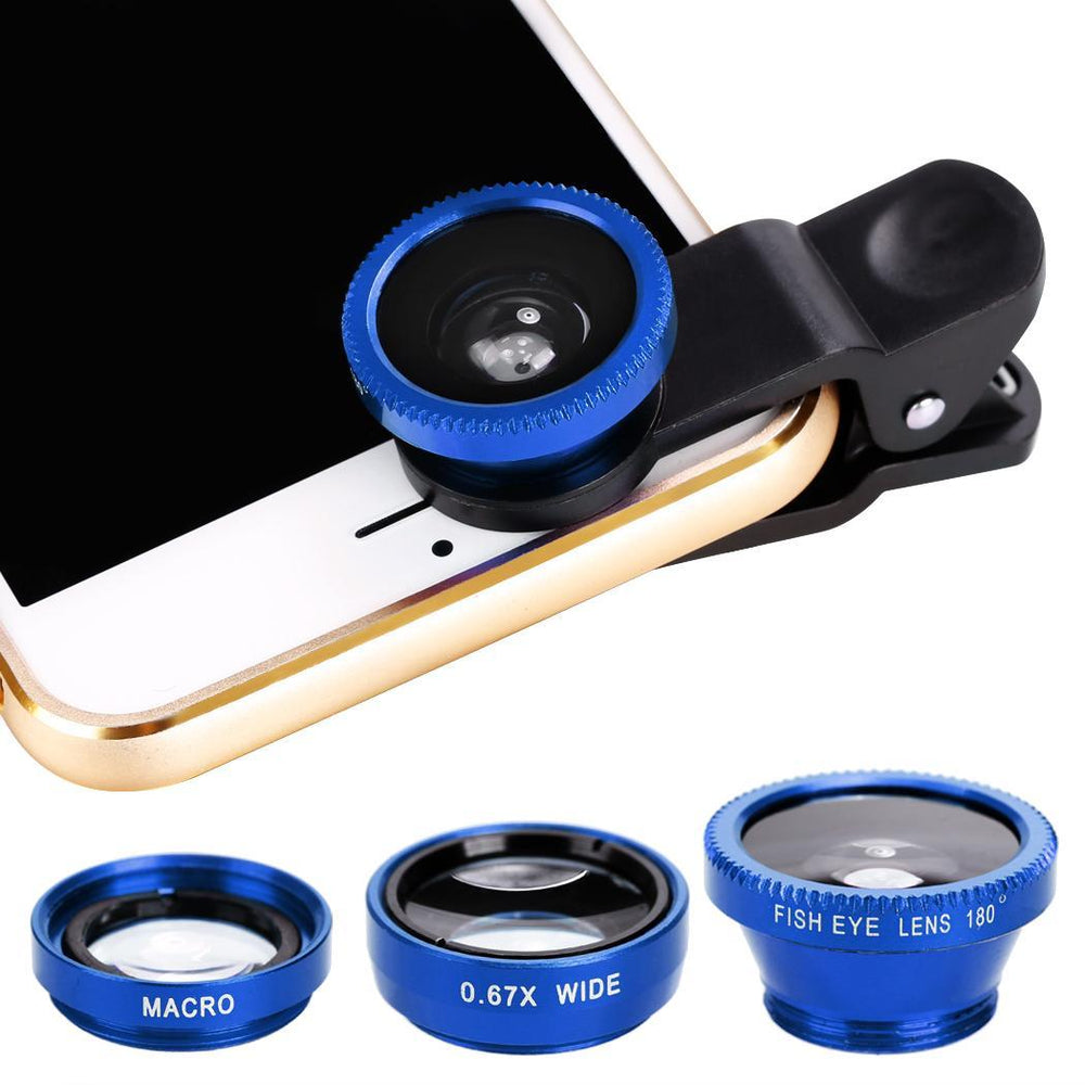 Camera Clip lens-Fisheye lens, wide&Macro lens_Blue only in Bigswipe