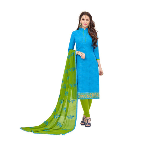 Cotton Jacquard Fabric Sky-Blue Color Dress Material only in Bigswipe