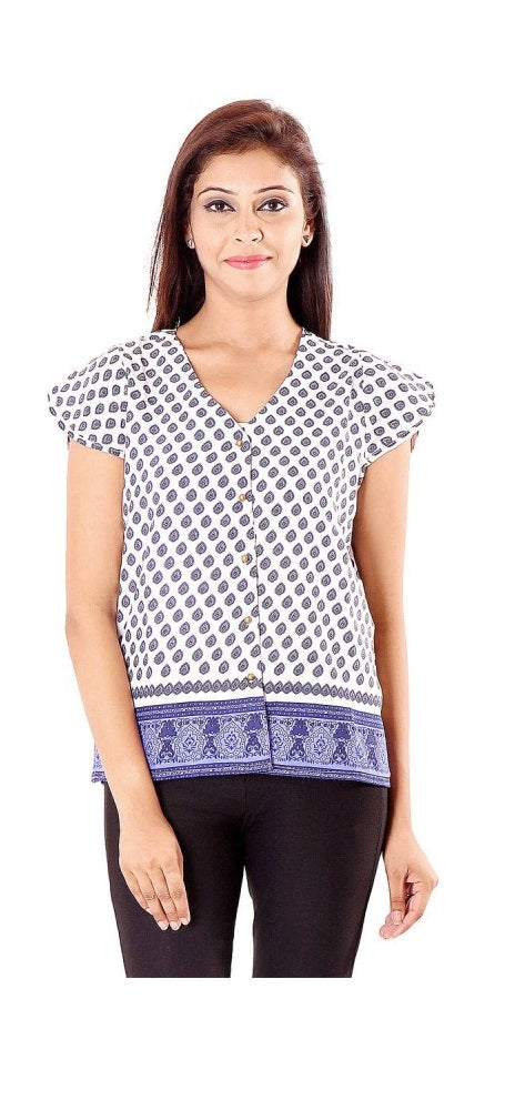Polyester Printed Blue Top only in Bigswipe