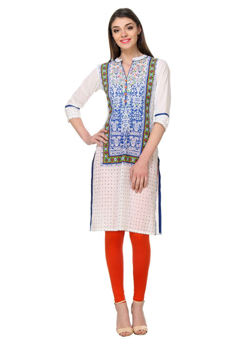 Off White Color Prited,Buttons Cambric Cotton Kurti only in Bigswipe