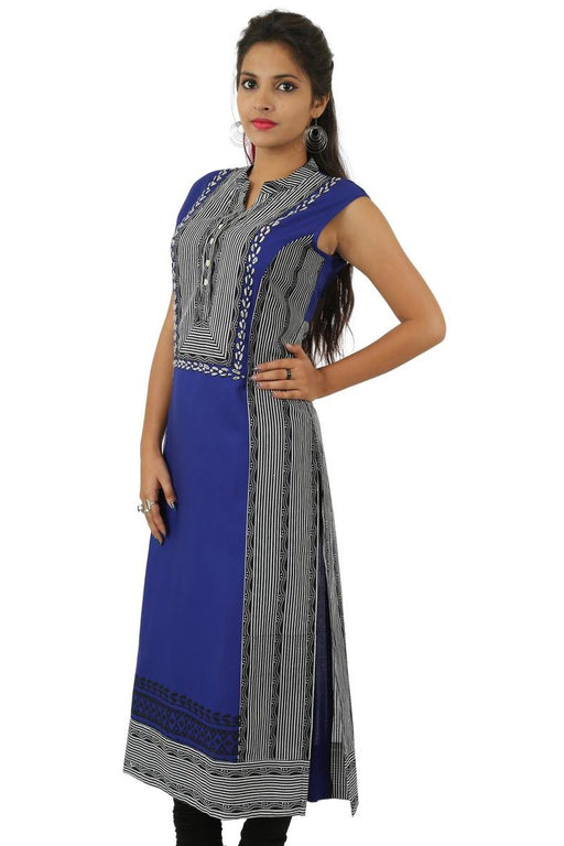 Cotton 60/60 Black N Royal Blue Printed Kurti With Lining Border Print