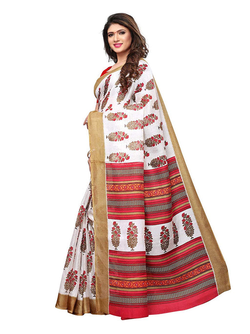 White, Red, Multi Color Poly Silk Saree