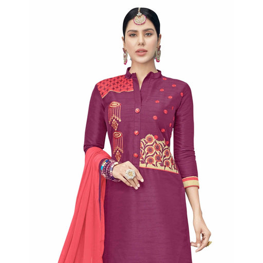 Cotton Silk Fabric Magenta Color Dress Material only in Bigswipe