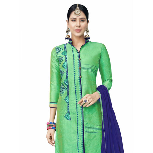 Cotton Silk Fabric Green Color Dress Material only in Bigswipe