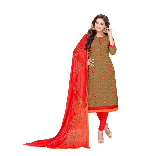 Cotton Jacquard Fabric Mehendi Green Color Dress Material only in Bigswipe