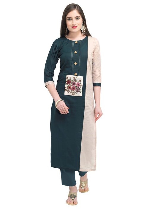 Beige, Green (Peacock Green) Color Digital Patch Cambric Cotton Kurti only in Bigswipe