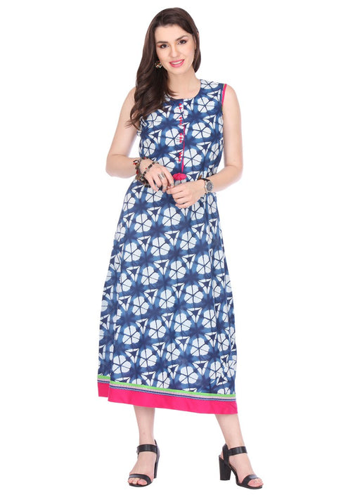 Blue,White Color Printed Cambric Cotton Kurti only in Bigswipe