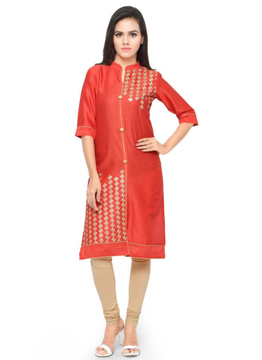 Peach Color Embroidery,Buttons Glace Cotton Kurti only in Bigswipe