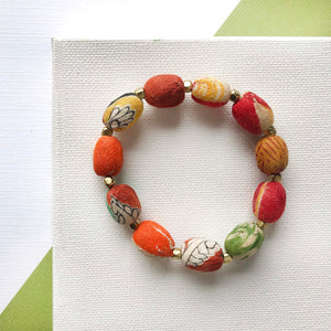 Kantha Oval Beaded Bracelet