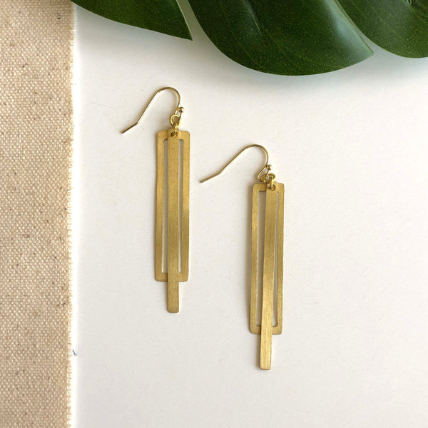 Pierced Rectangle Earrings