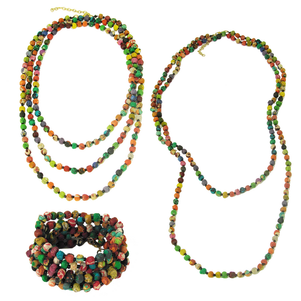 Kantha Bead Long Necklace