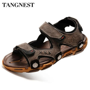 Tangnest Summer Men Beach Sandals Casual Non-Slip Gladiator Sandals Genuine leather Men's Sandals Soft Fisherman Shoes XML204