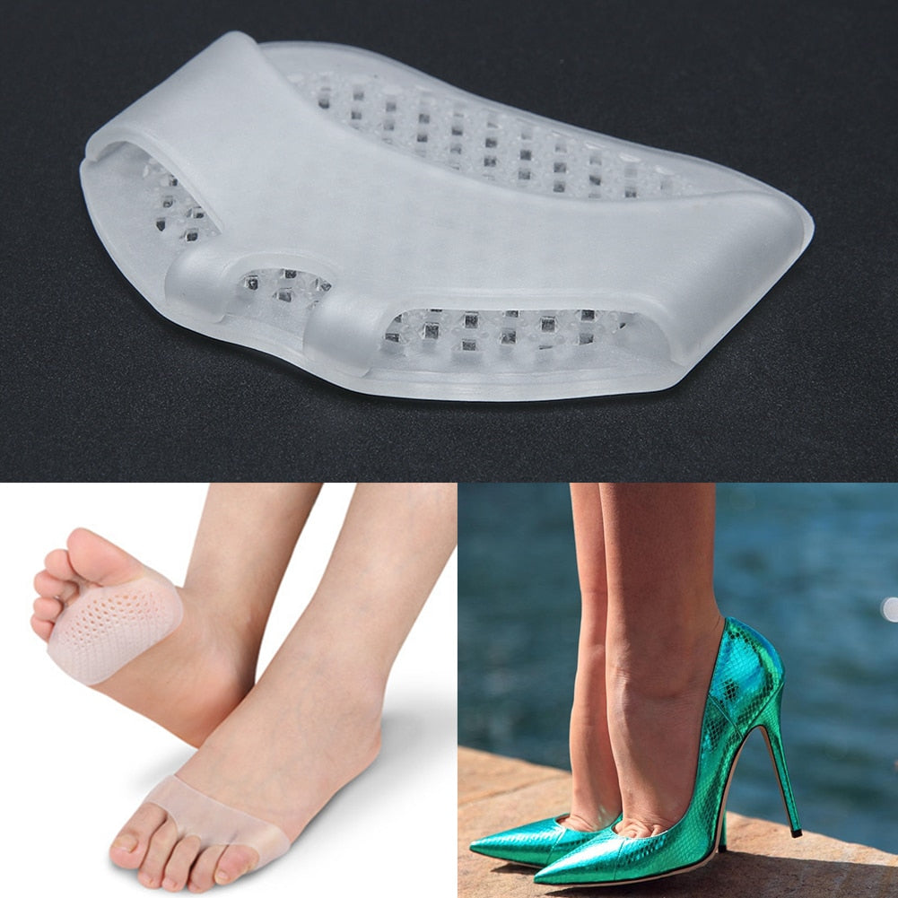 1 Pair Gel Forefoot Metatarsal Pads Silicon Half Yard Othotics Pain Relief Massage Anti-slip Cushion Forefoot Supports Foot Care