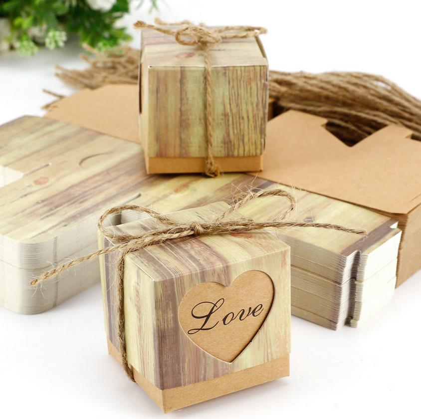 Retro Kraft Paper Hollow Out Love Heart Favor Gift Box Wedding Birthday Party Handmade Soap Jewelry Candy Wrap Packaging Boxes