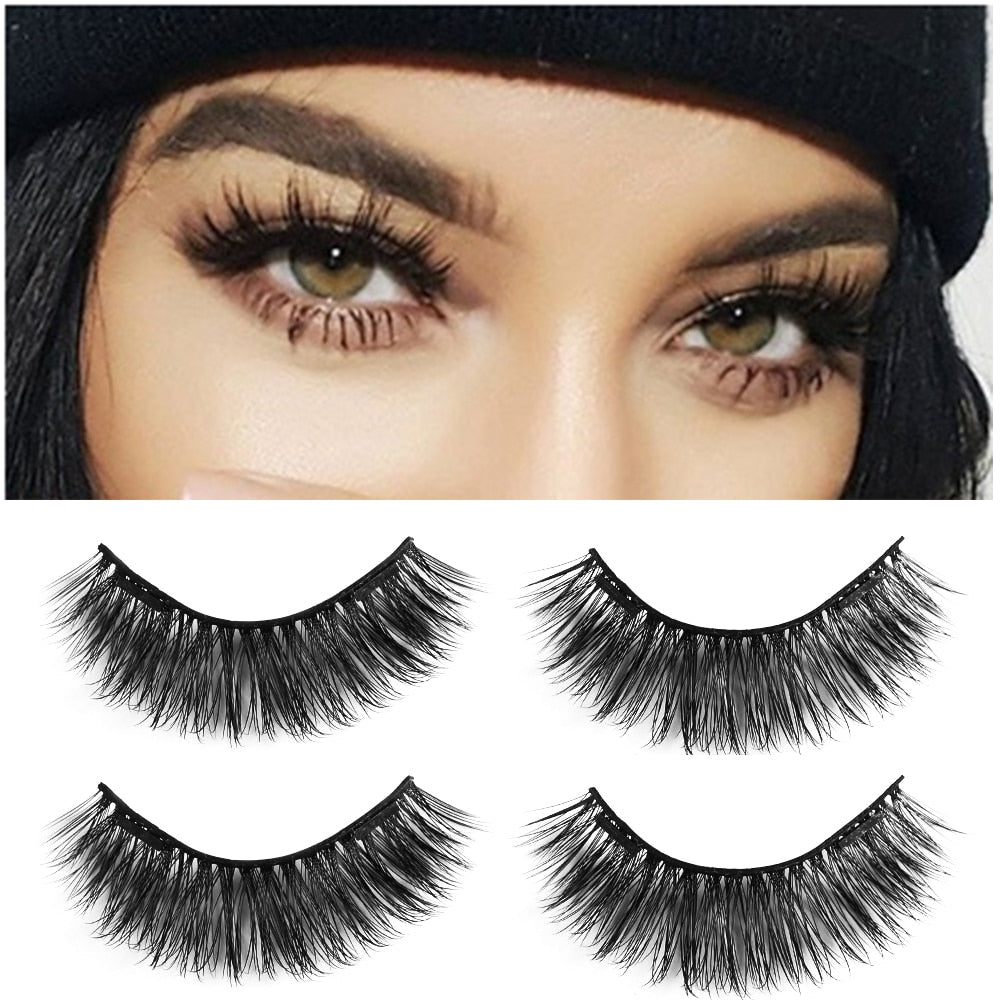 1 Pair Dual Magnetic False Eyelashes Natural Makeup Magnets Fake Eye Lashes Glue-free Reusable Make up Beauty Extension Tools