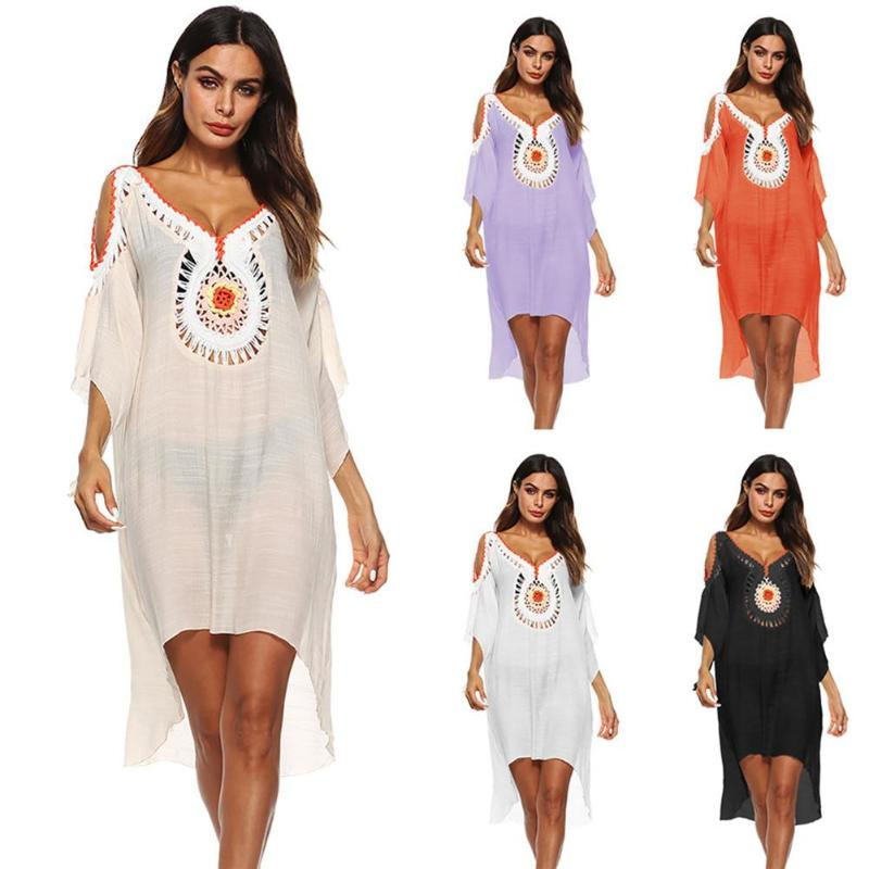 2018 Women Crochet Vintage Blouse V-neck Hollow Out Shoulder Shirts Beach Bikini Cover Up Irregular Loose Summer Dress Free Size