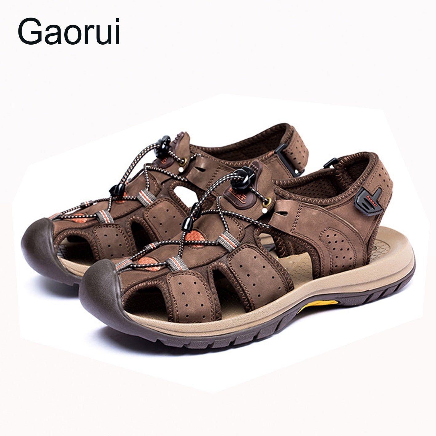 GAORUI New Men Sandals Genuine Leather Fashion Summer Shoes Men Slippers Breathable Male Causal Sandals Shoes Leather Plus Size