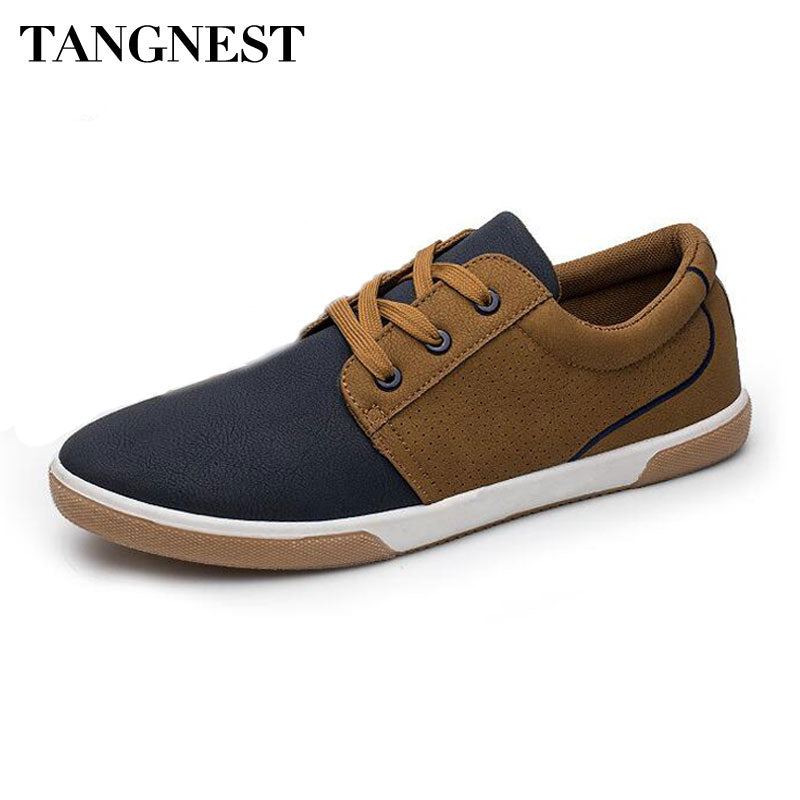Tangnest NEW Autumn Patchwork Men's Sneakers Casual Round Toe Lace Up Flat Shoes For Men PU Leather Breathable Shoes XMR2956