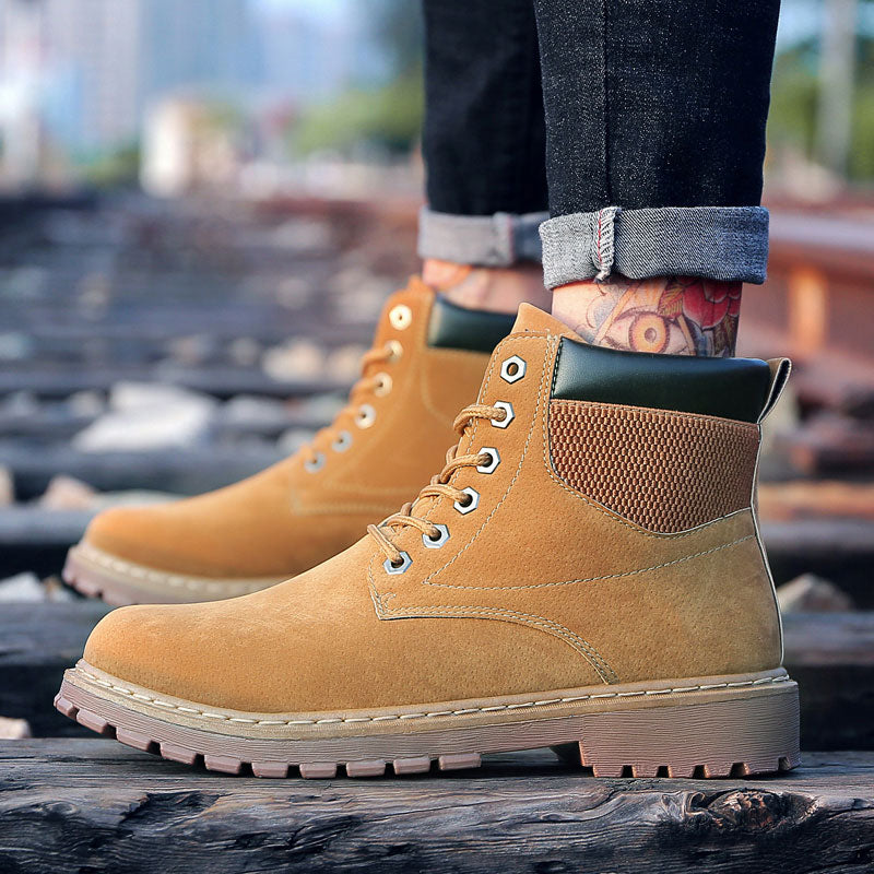 angnest Rubber Boots Men 2018 Autumn Casual Working Boots Fashion Male Ankle Boots Solid High Top Platform Shoes Man XMX933