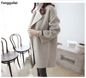 2018 Winter Fashion Women New Coat Long Sleeve Medium Long High Quality Wool Coat Loose Super Warm Woolen Coat Women Bl1427