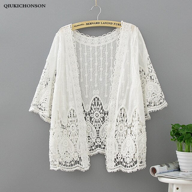 Qiukichonson White Lace Cardigan Women Bohemian Hollow Out Flower Embroidery Women Beach Tops Lace Up Air Conditioning Cardigans